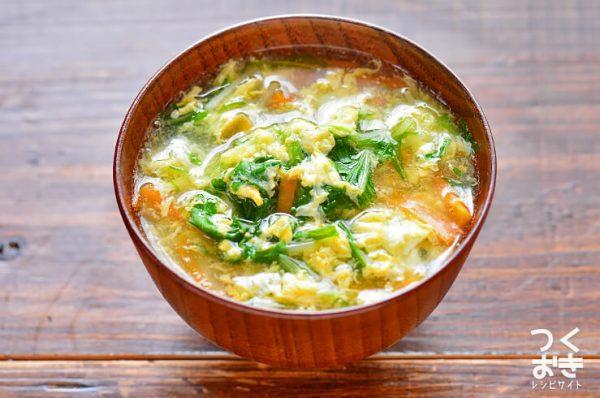 彩り豊かで具沢山な水菜と卵のとろみ汁レシピ